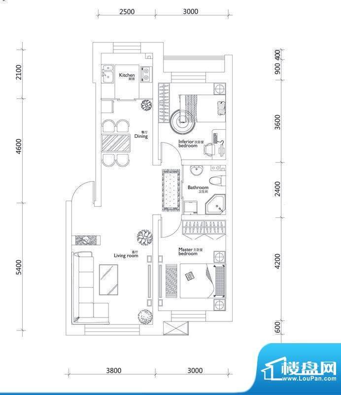万龙第十城A户型图 面积:79.22平米