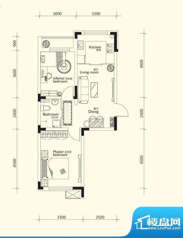 万龙第十城C户型图 面积:62.95平米