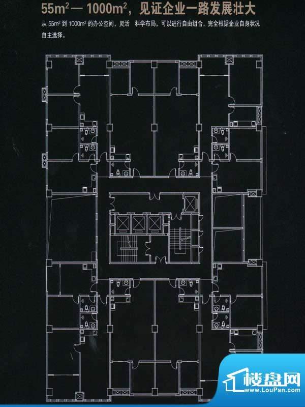 铂钥中心标准层平面面积:500.00m平米