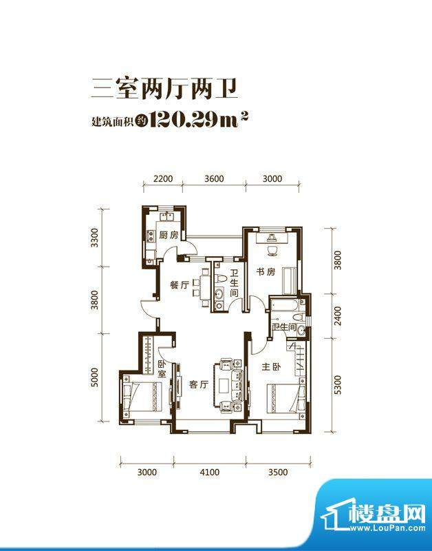 力旺美林C户型图 3室面积:120.29平米