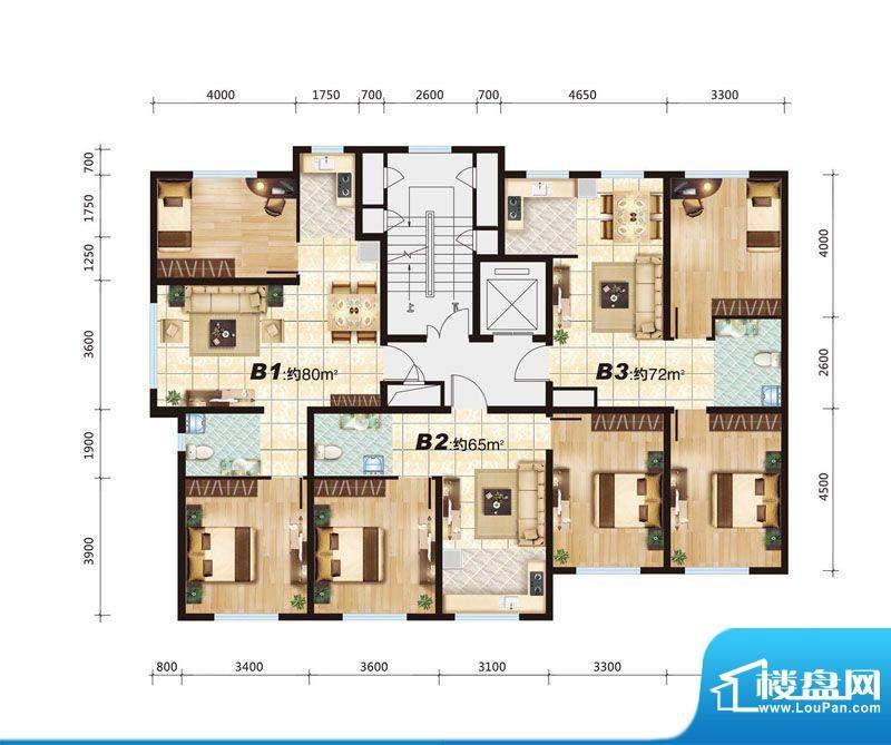 华大城B户型平面图 面积:0.00平米