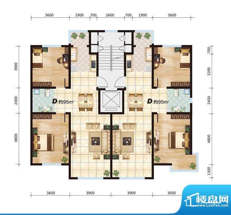 华大城D户型平面图 面积:0.00平米