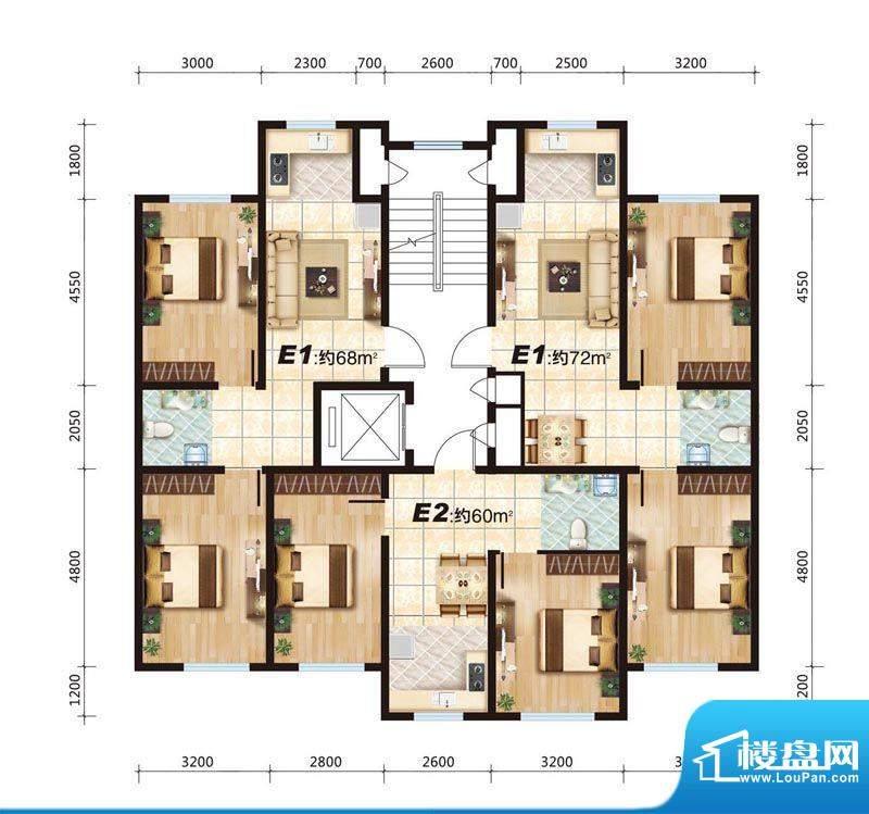 华大城E户型平面图 面积:0.00平米