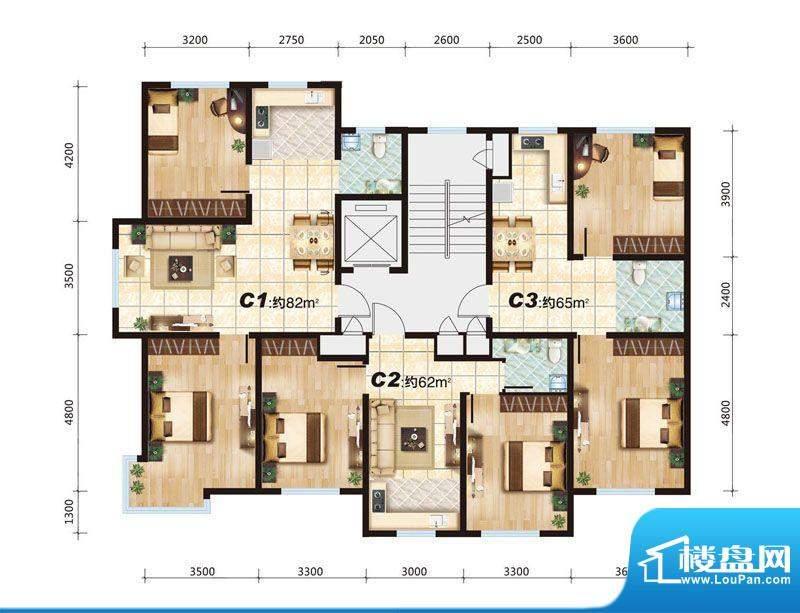 华大城C户型平面图 面积:0.00平米