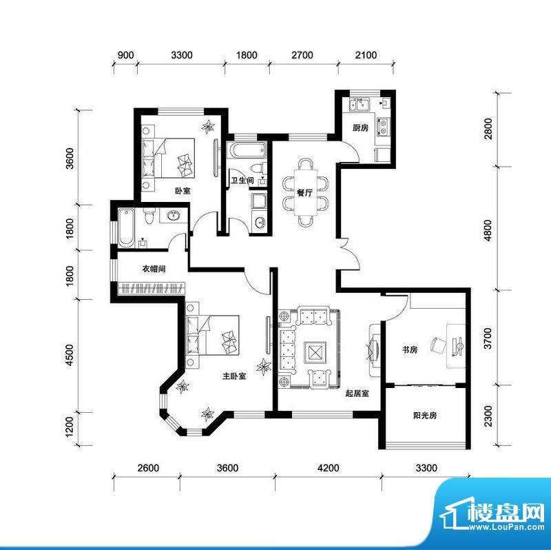 汉森香榭里高层A户型面积:153.00平米