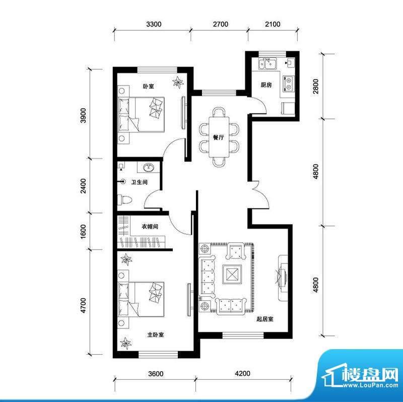 汉森香榭里高层B户型面积:110.00平米