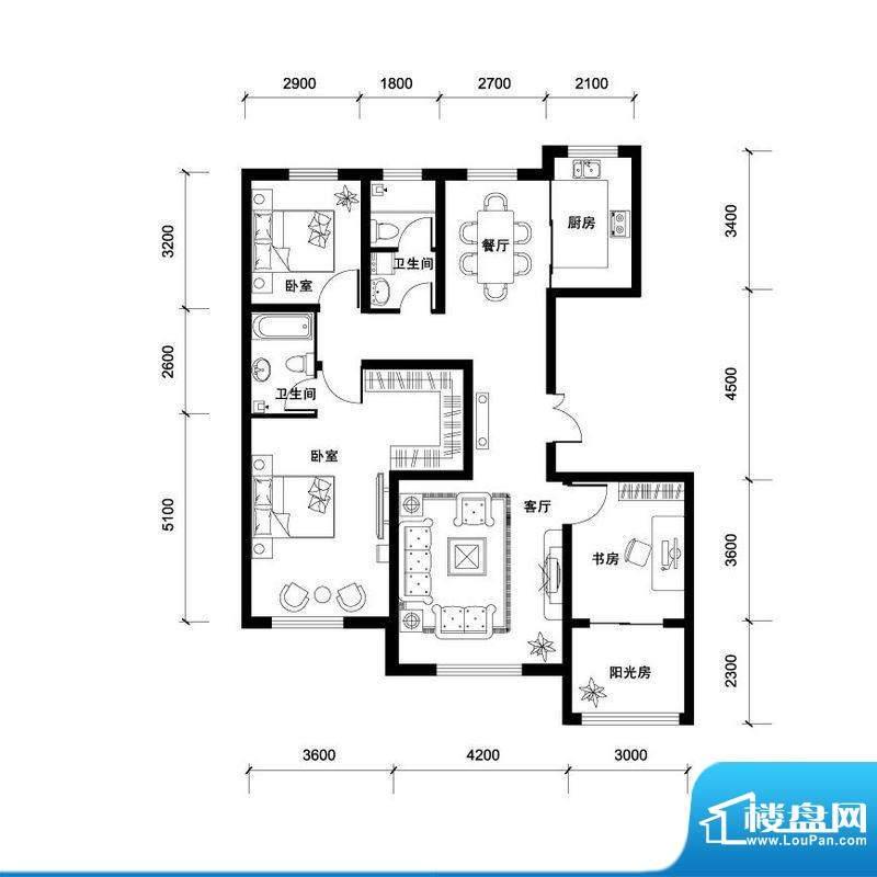 汉森香榭里高层D户型面积:138.00平米