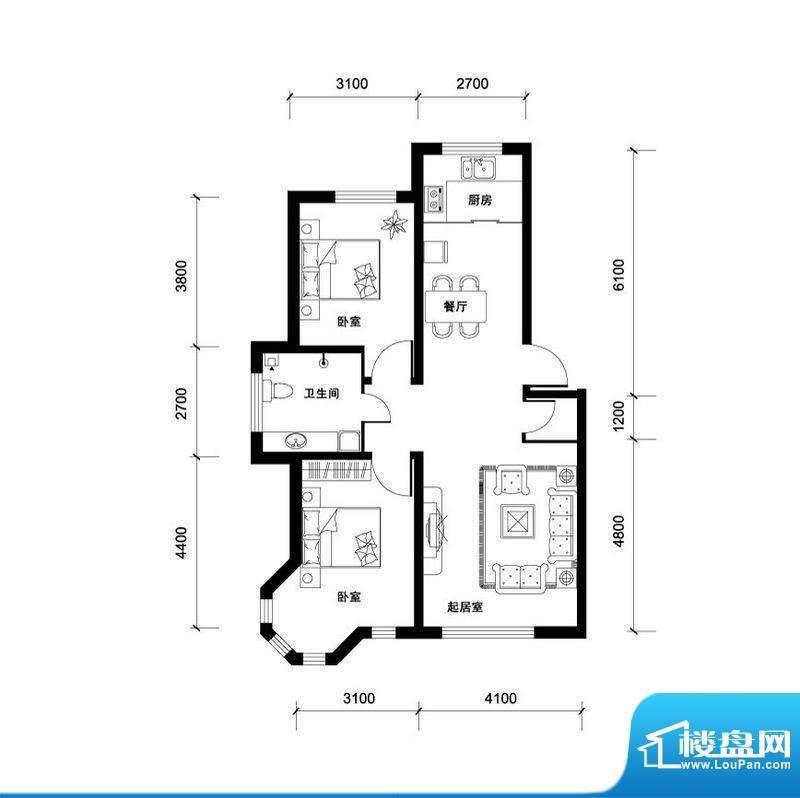 汉森香榭里高层H户型面积:102.00平米