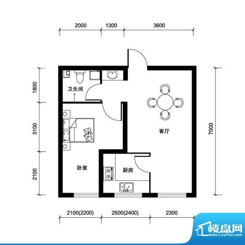 汉森香榭里超高层J户面积:68.00平米