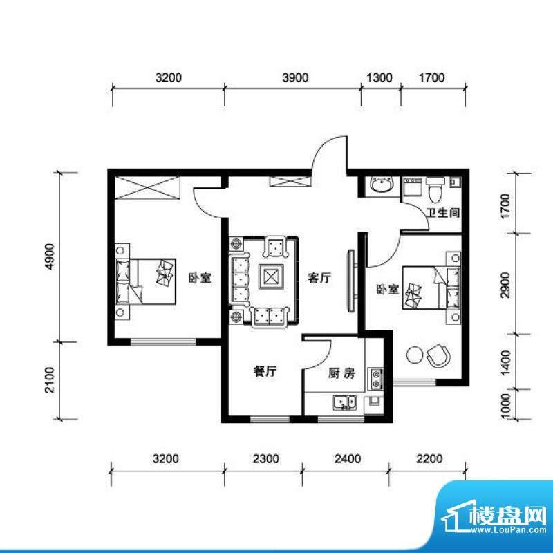 汉森香榭里超高层K户面积:86.00平米