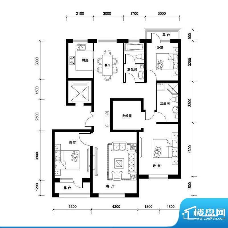 汉森香榭里洋房H户型面积:140.00平米