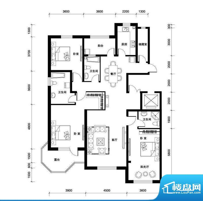 汉森香榭里洋房O户型面积:189.00平米