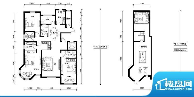汉森香榭里洋房M户型面积:211.00平米