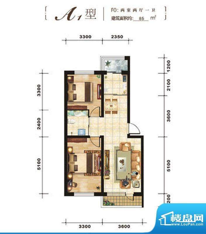 青石花语A1、85平方面积:85.00平米