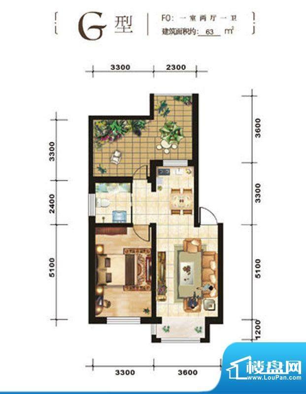 青石花语G、63平方米面积:63.00平米