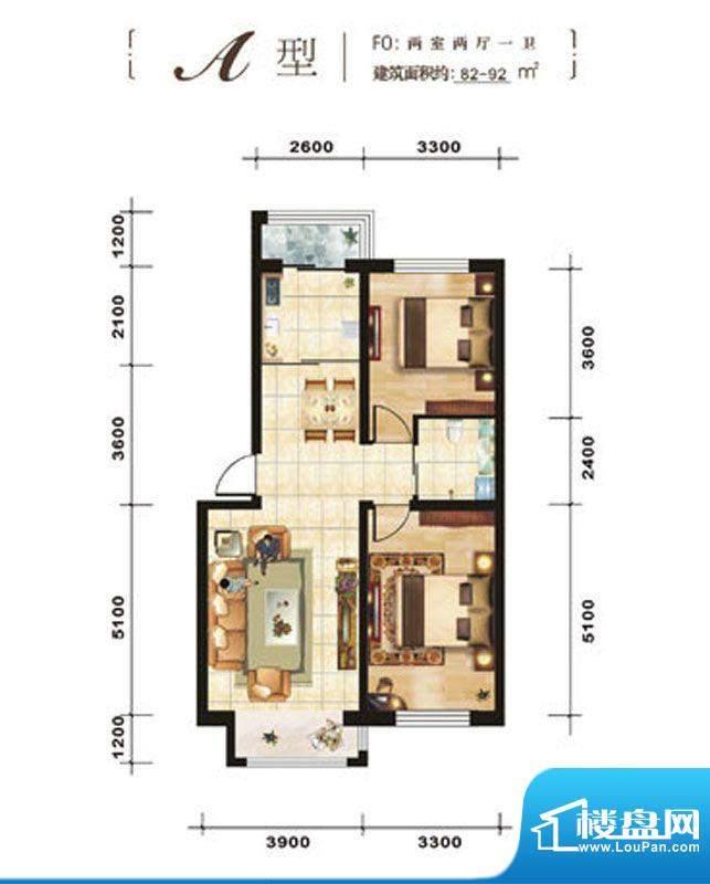 青石花语A、82-92平面积:82.00平米