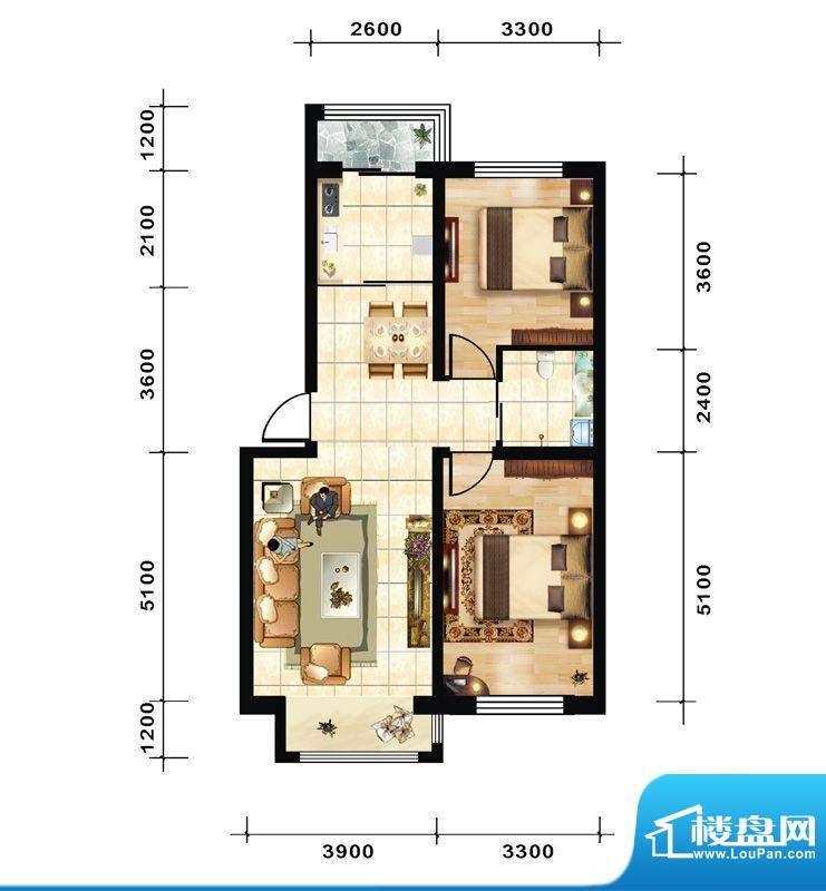 青石花语1/2/3号楼A面积:73.00平米