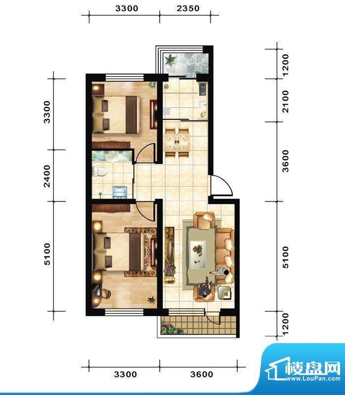 青石花语2号楼A1户型面积:76.00平米