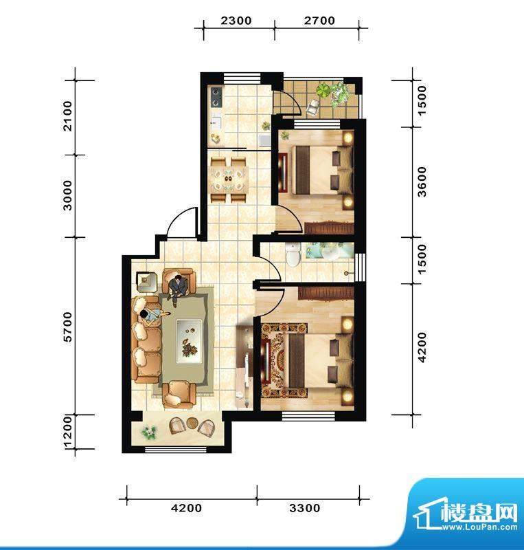 青石花语1号楼A2户型面积:85.00平米