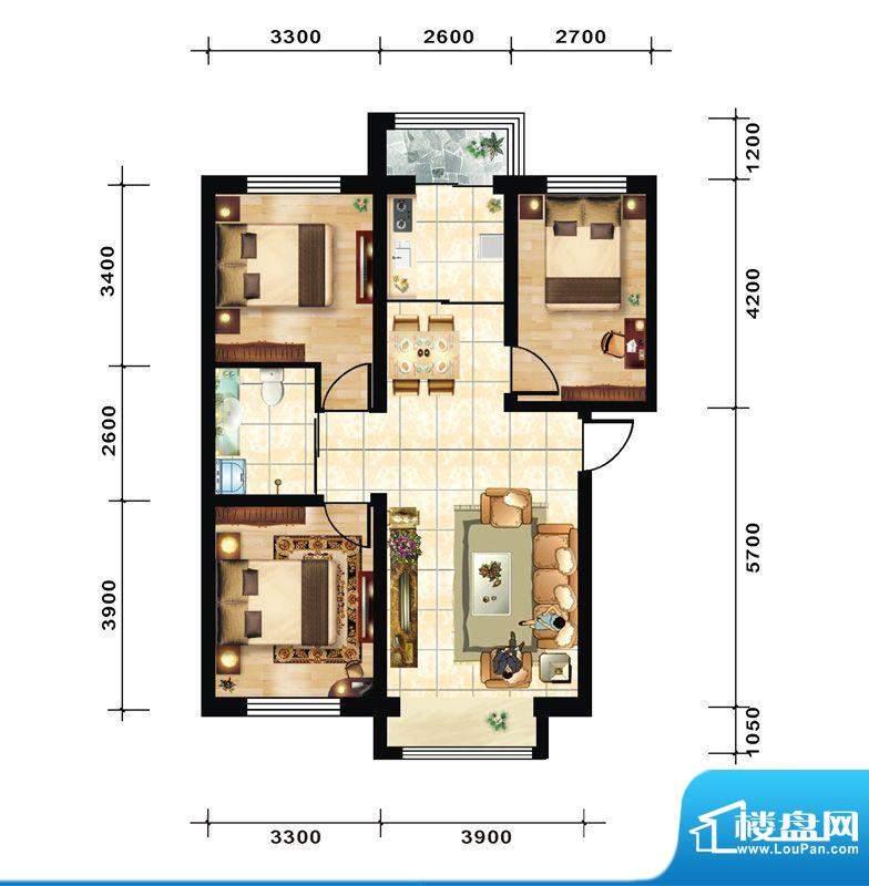 青石花语3号楼E户型面积:93.00平米