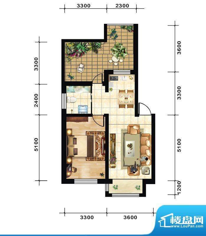 青石花语1号楼G户型面积:56.00平米