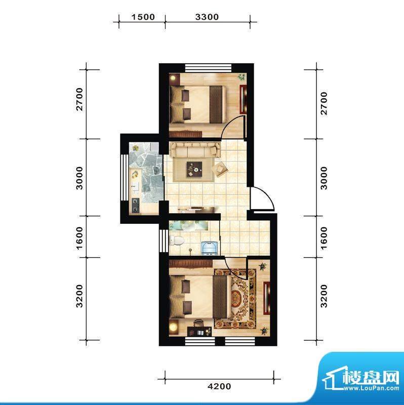 青石花语3号楼H户型面积:53.00平米