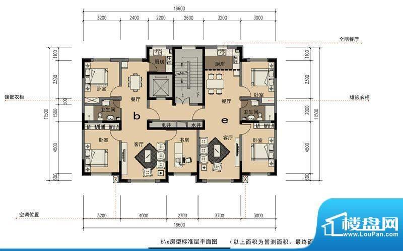 卓扬北湖湾b/e房型平面积:187.15平米