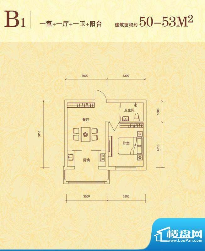 隆达丽景世纪城B1户面积:50.00平米