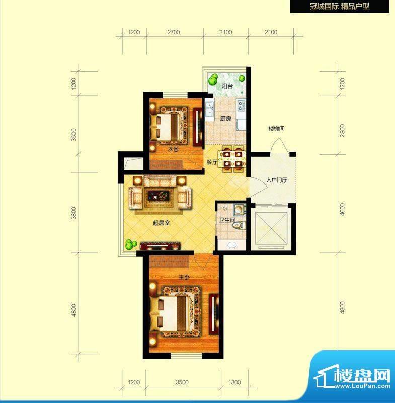 冠城国际1/3号楼a户面积:76.24平米