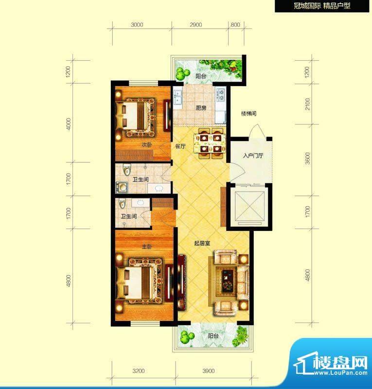 冠城国际1/3号楼b户面积:105.36平米