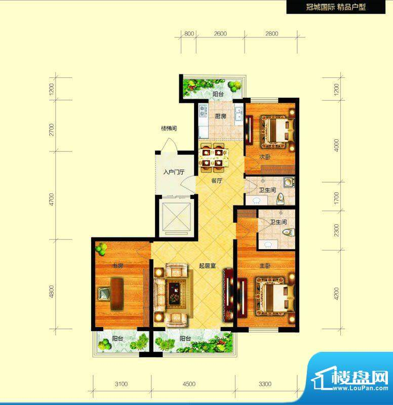 冠城国际1/3号楼c户面积:134.84平米