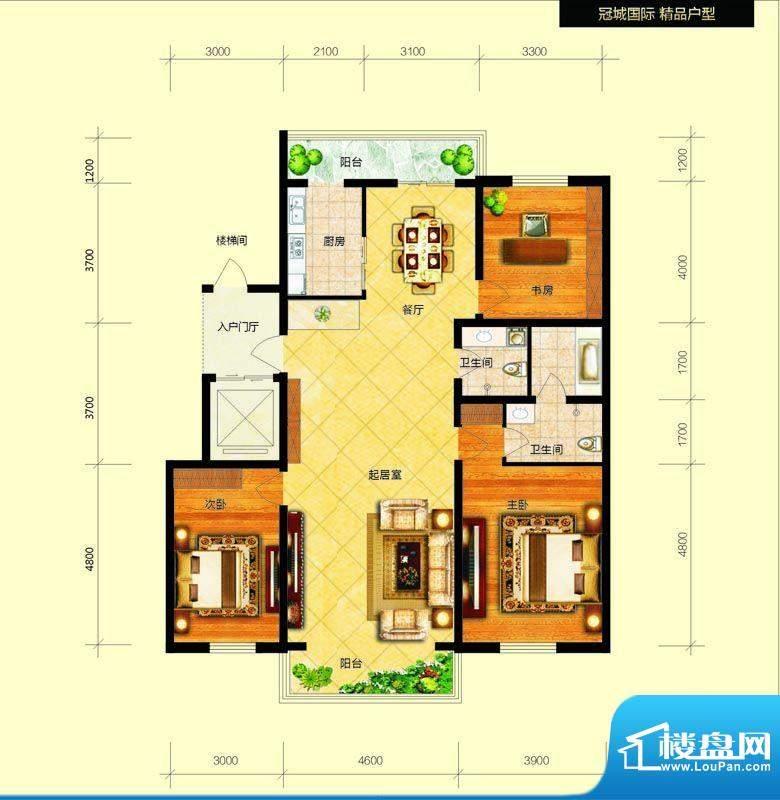 冠城国际1/3号楼e户面积:151.29平米