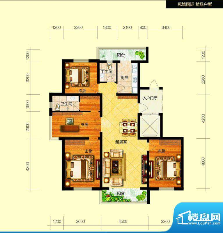 冠城国际5/6号楼f户面积:152.34平米
