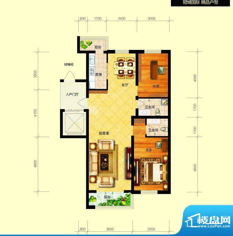 冠城国际5/6号楼g户面积:114.78平米