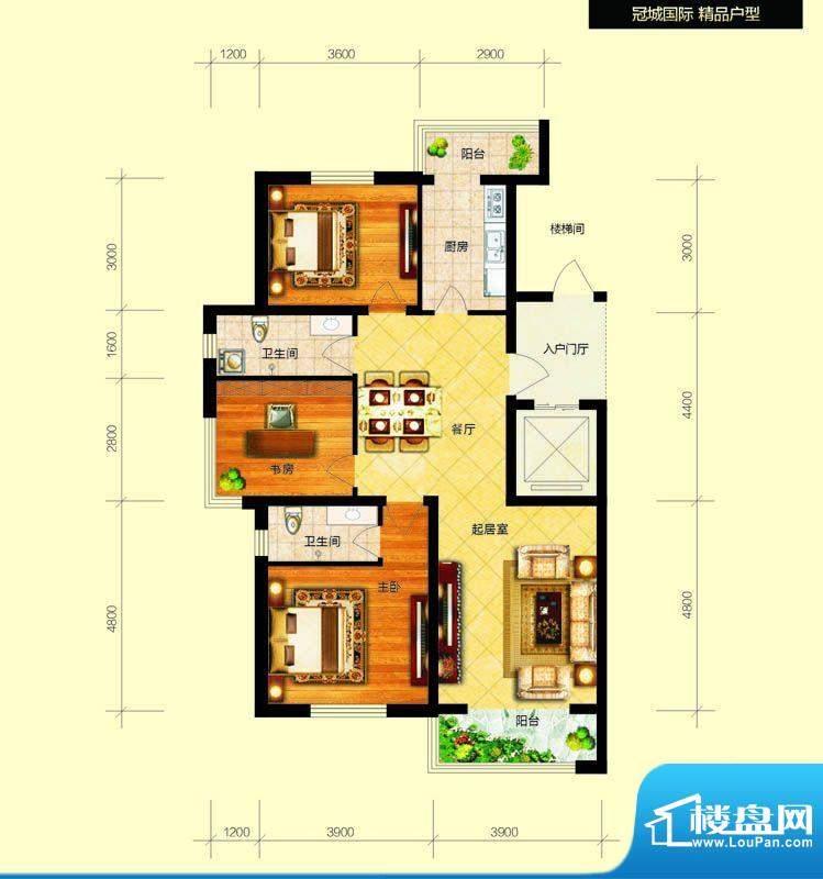 冠城国际7号楼h户型面积:116.83平米