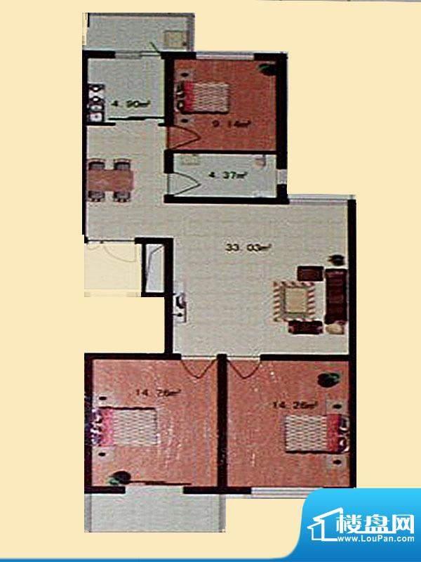 金色领地标准层B2户面积:122.66m平米