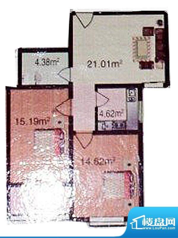金色领地标准层C2户面积:89.00m平米