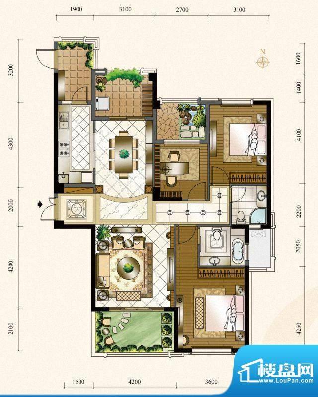 三盛四季公园15#楼0面积:137.00m平米