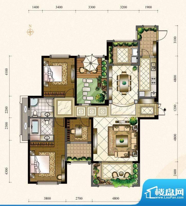 三盛四季公园13#楼1面积:147.00m平米
