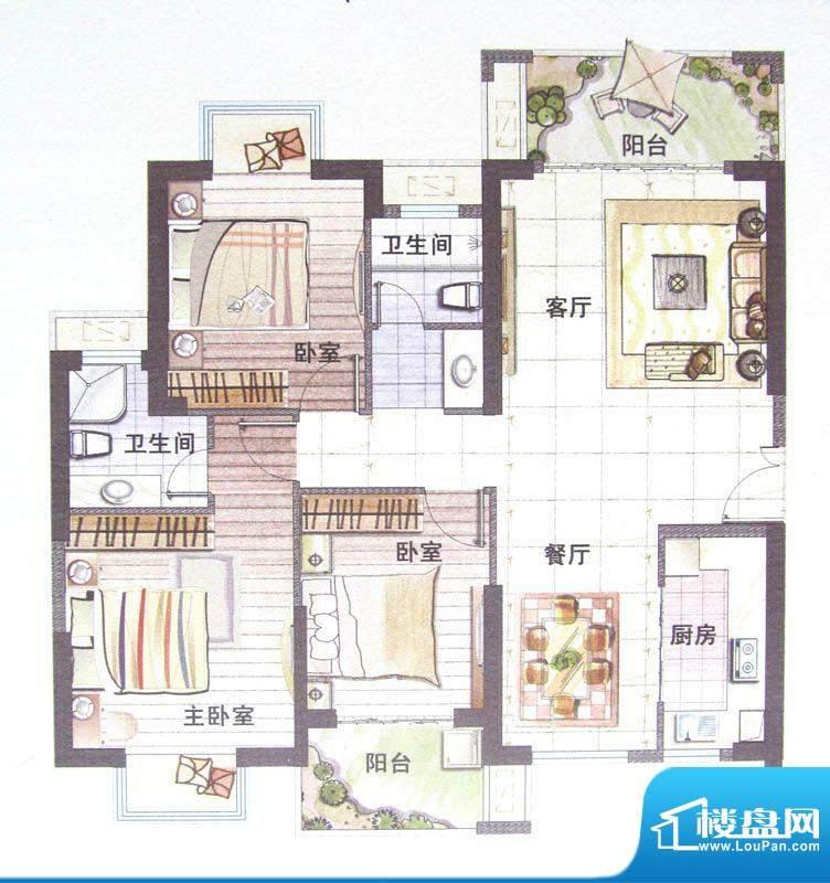 鼎盛骏景3#/5#楼A户面积:125.00m平米