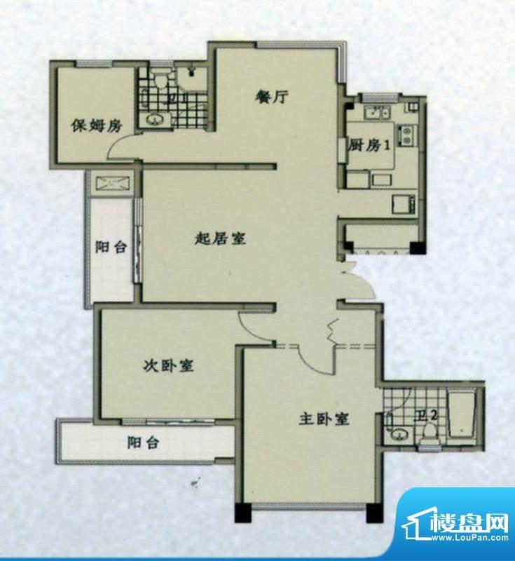 幸福海岸高层公寓B户面积:124.19m平米