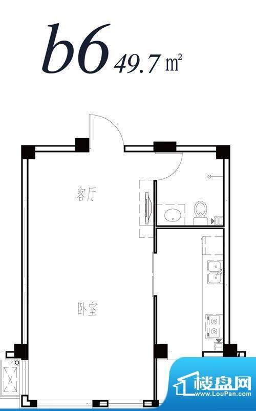 天海湾水城多层b6户面积:49.70m平米