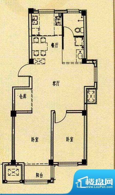 天海湾水城一期e1户面积:65.00m平米