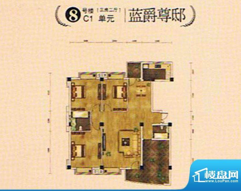 湖景帝苑8#C1单元 3面积:0.00m平米