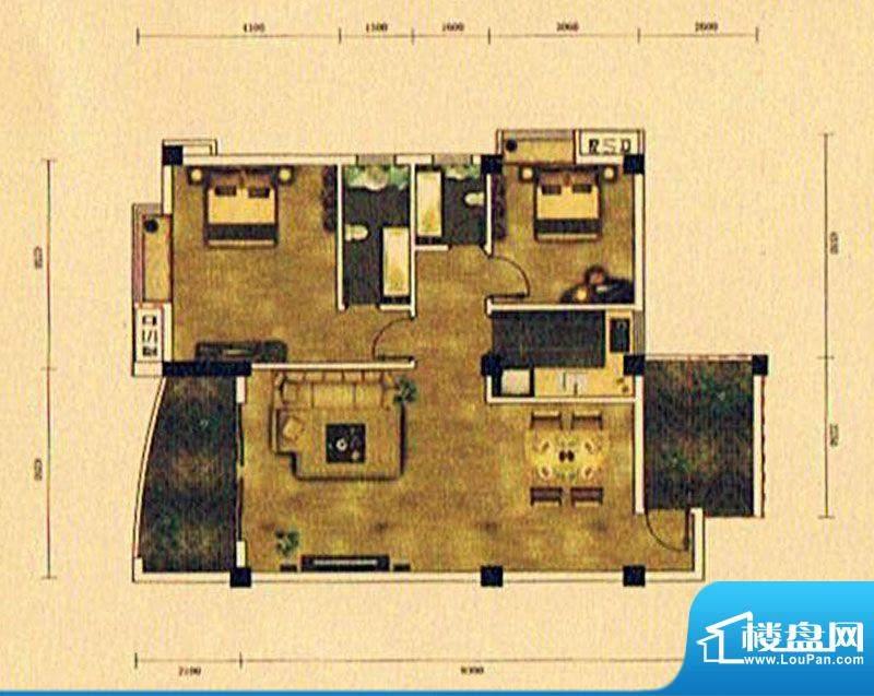 湖景帝苑5#E3单元 2面积:98.22m平米