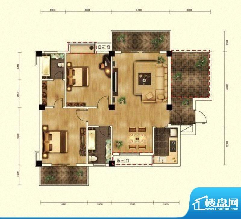 湖景帝苑6#、7#楼E1面积:104.14m平米