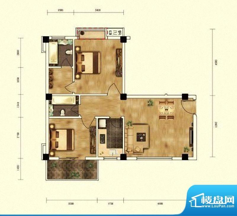 湖景帝苑5#楼E2单元面积:76.63m平米