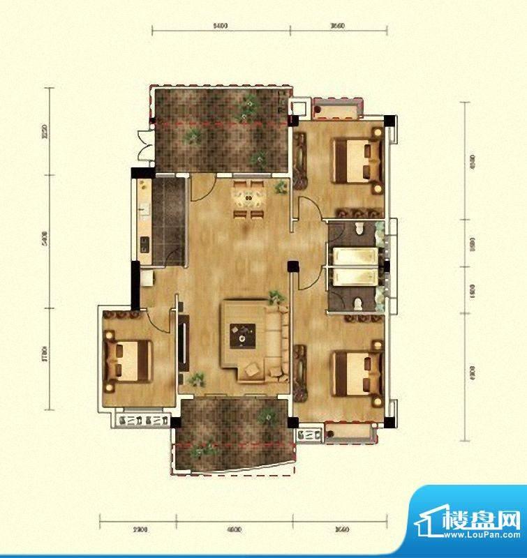 湖景帝苑1#楼A1单元面积:132.57m平米