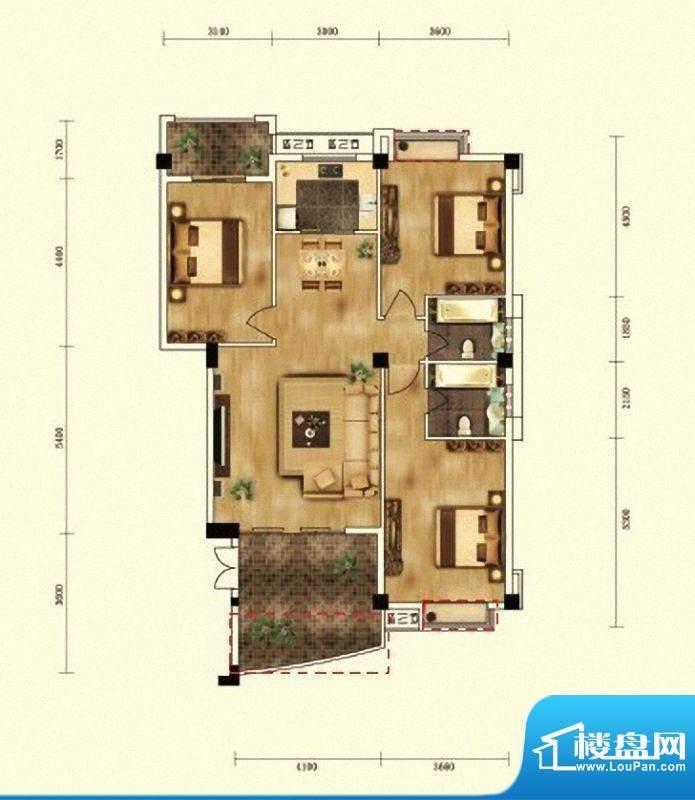 湖景帝苑2#、3#楼B1面积:126.88m平米