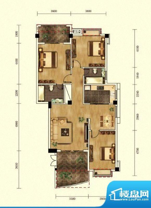 湖景帝苑4#楼D1单元面积:123.15m平米